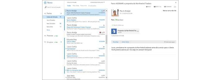 Uma caixa de entrada de email com uma nova mensagem no painel de visualização