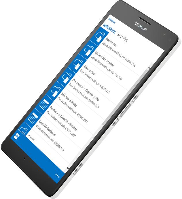 Dispositivo móvel mostra o SharePoint em uso para acessar informações; saiba mais sobre o SharePoint Server 2016 no site Microsoft TechNet