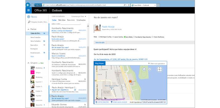 Close-up da caixa de entrada de um usuário do Outlook na Web, na plataforma do Exchange.
