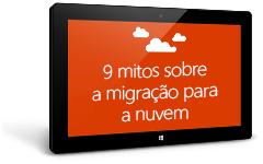 Tablet mostrando o livro eletrônico 9 Myths About Moving to the Cloud, baixe o livro eletrônico preenchendo o formulário na página de destino