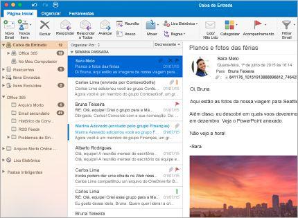 Uma captura de tela de uma caixa de entrada do Microsoft Outlook 2013 com uma lista de mensagens e visualização.
