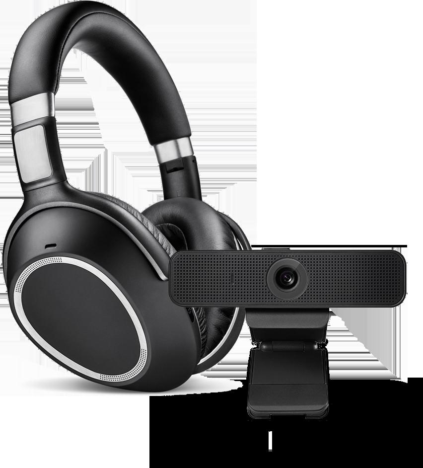 Fones de ouvido e webcam