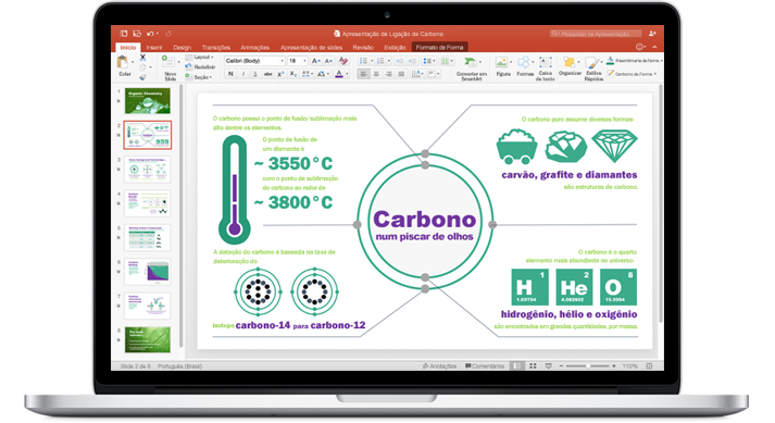 Um MacBook mostrando uma apresentação do novo PowerPoint para Mac.