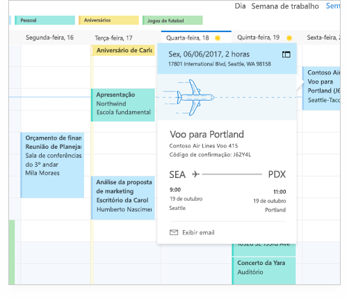 Calendário do Exchange que mostra detalhes de voos e outros compromissos e eventos