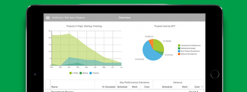 Project Professional Dashboard aberto em um tablet.
