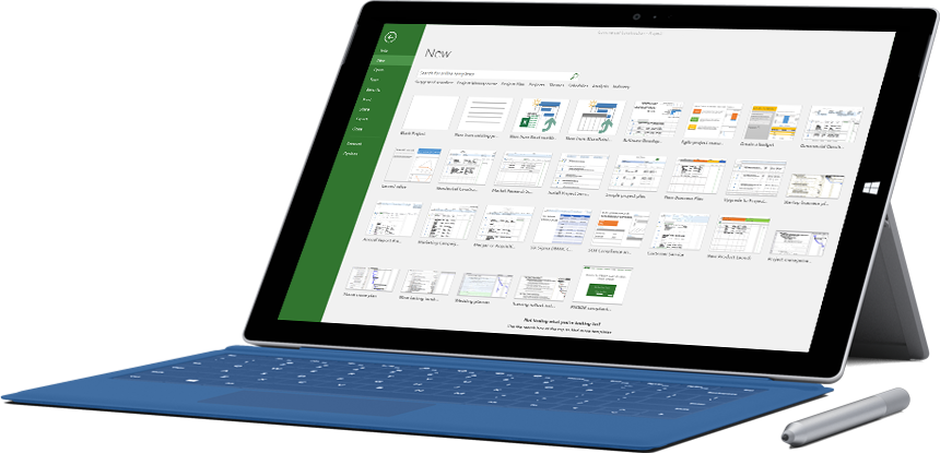 Tablet Microsoft Surface mostrando a janela Novo Projeto no Project 2016.