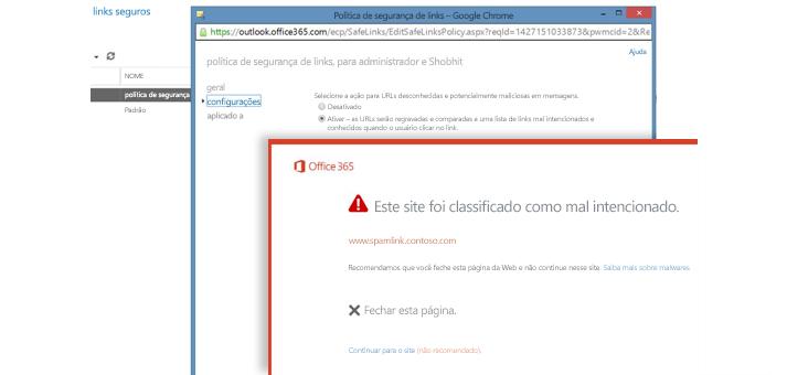 Uma janela com a Política de Links seguros e um aviso sobre Links seguros aos usuários.