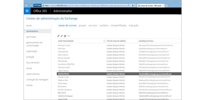 Close-up de uma página no centro de administração do Exchange, onde você gerencia seu sistema de email.