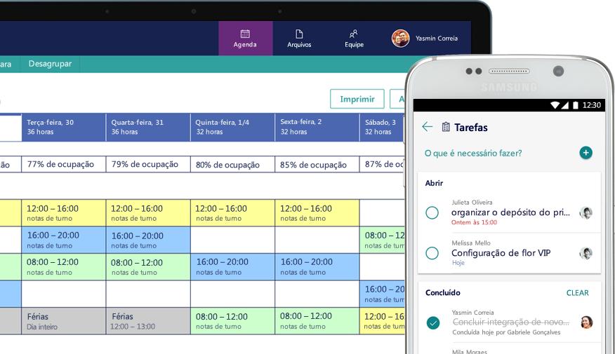 um desktop mostrando um cronograma e um celular mostrando a tela de tarefas com as tarefas atribuídas e concluídas
