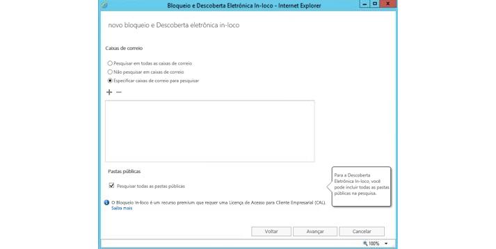 Captura de tela do Centro de administração do Exchange, onde você pode gerenciar a proteção dos dados.