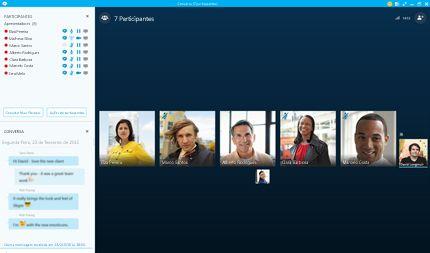 Uma captura de tela inicial do Skype for Business com miniaturas de contatos e opções de conexão.