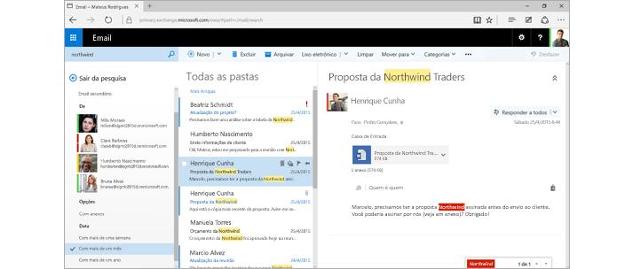 Captura de tela da caixa de entrada do Outlook de um usuário.