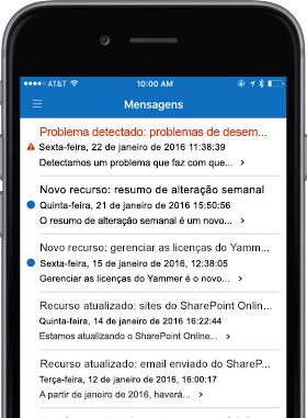 Imagem de celular mostrando a tela Mensagens.