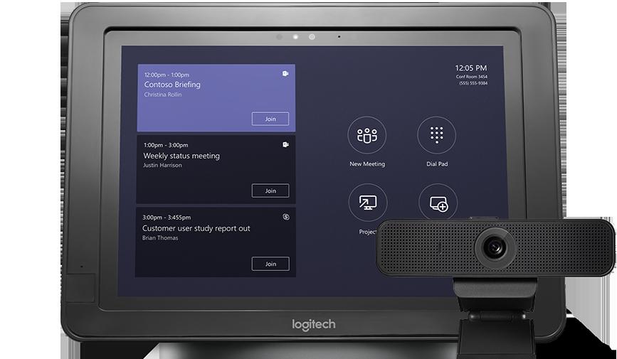Dispositivo exibindo uma agenda de reuniões ao lado de um periférico de áudio e vídeo