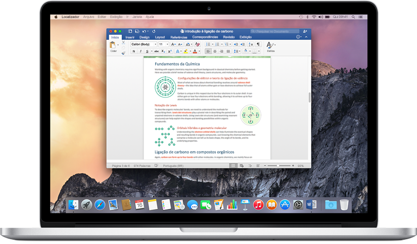 MacBook mostrando um documento do Word aberto na tela inicial