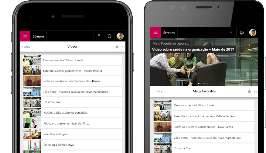 Dois smartphones, um com uma lista de vídeos do Stream e outro com o menu Minha Watchlist dos vídeos no Stream