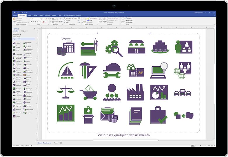 Uma tela de tablet exibindo um diagrama de lançamento de produto no Visio