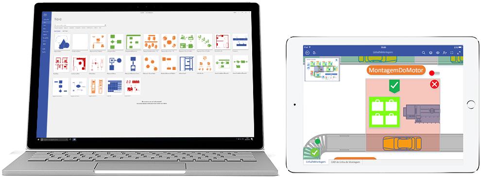 Diagramas do Visio Online Plano 2 mostrados em um laptop e um iPad.