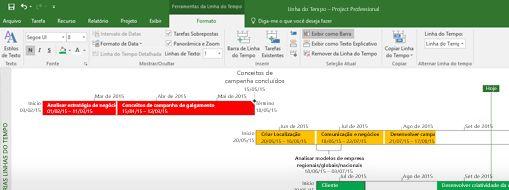 Captura de tela de um arquivo de projeto aberto no Project Professional