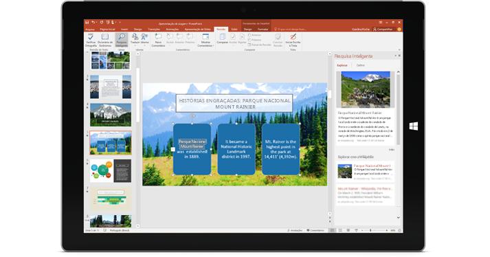 Colabora com você: um tablet mostrando uma apresentação de PowerPoint com o painel da Pesquisa Inteligente à direita.