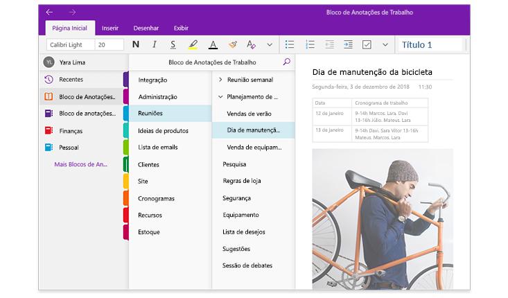 Imagem dos painéis de navegação do OneNote, mostrando uma lista de blocos de anotações e a lista de seções e páginas dentro desse bloco chamado Bloco de Anotações de Trabalho.