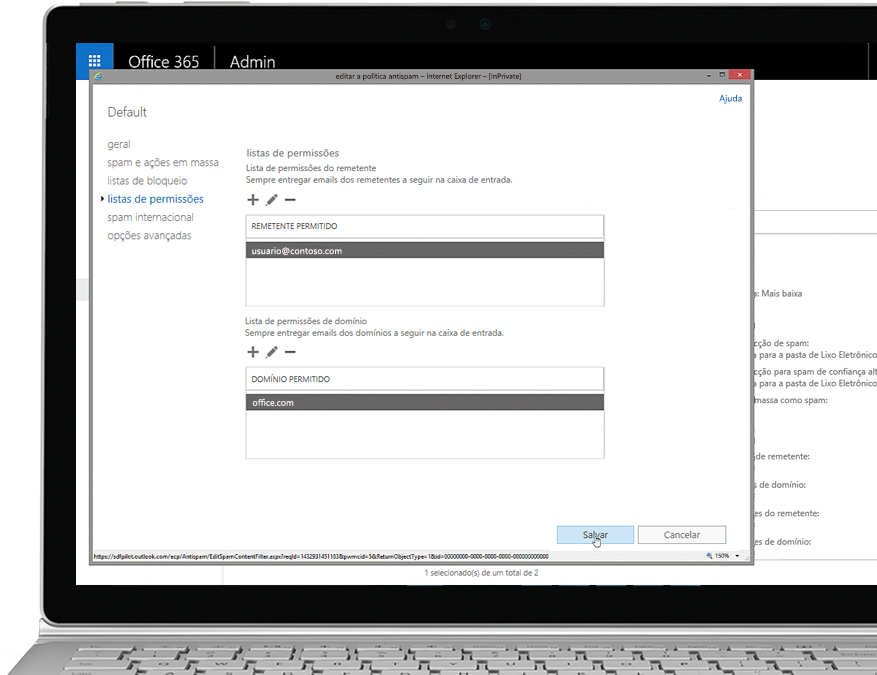 Um tablet mostrando a política de edição antispam no console do administrador do Office 365 com um remetente e domínio autorizados