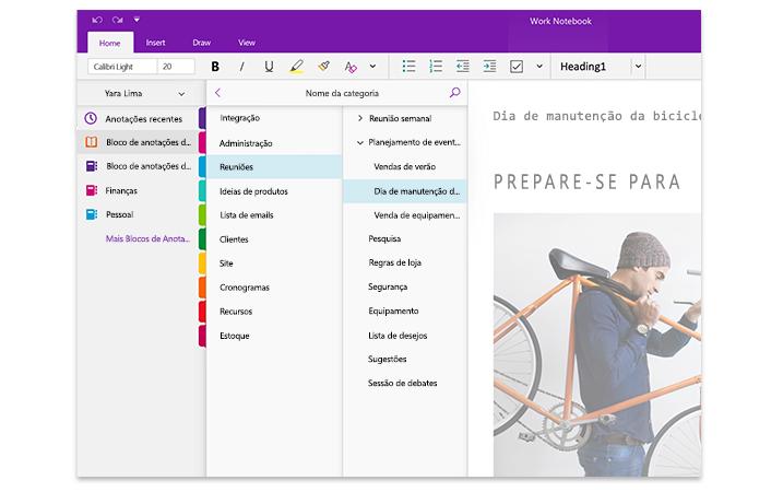 Uma imagem dos painéis de navegação do OneNote, mostrando uma lista de blocos de anotações e a lista de seções e páginas dentro desse bloco intitulado Bloco de Anotações de Trabalho.