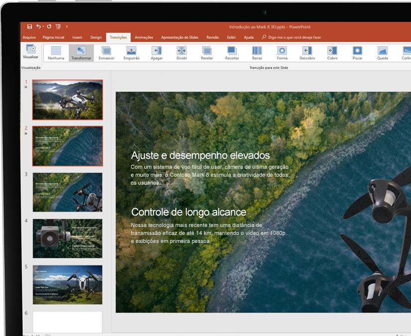Uma caneta ao lado de um tablet exibindo uma apresentação no Microsoft PowerPoint