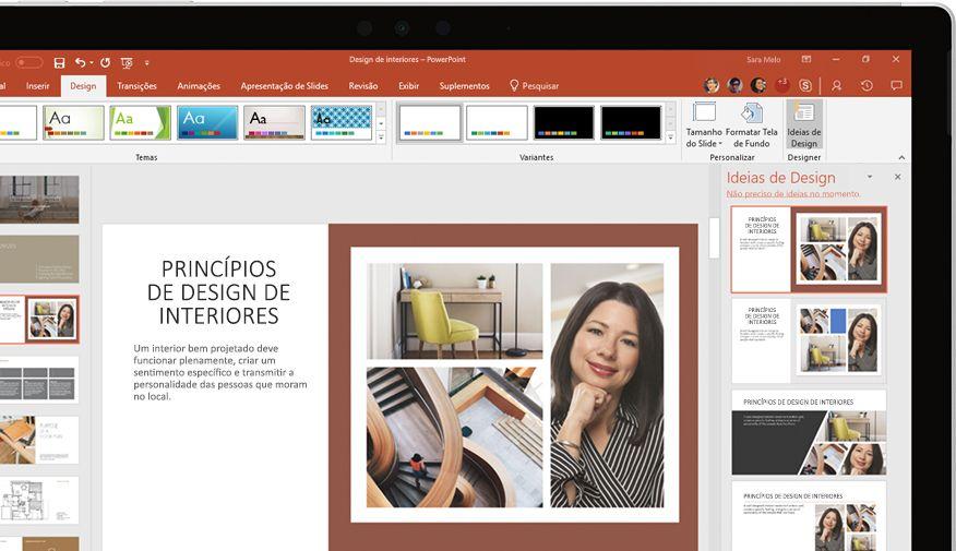 Apresentação do PowerPoint mostrada no dispositivo
