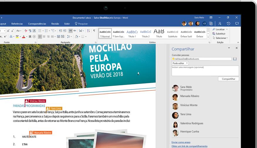 Funcionalidade de Compartilhamento do Word mostrada em um laptop