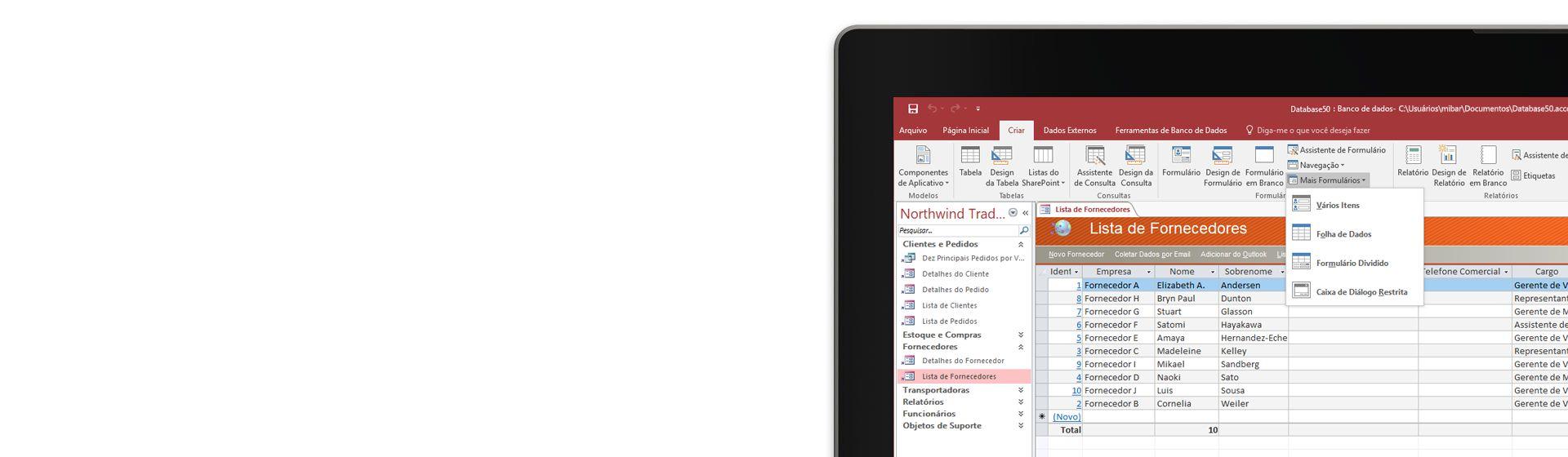 O canto de uma tela de computador exibindo uma lista de fornecedores em um banco de dados no Microsoft Access.