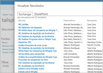 Um close-up de uma lista de resultados da visualização do Arquivamento do Exchange Online.