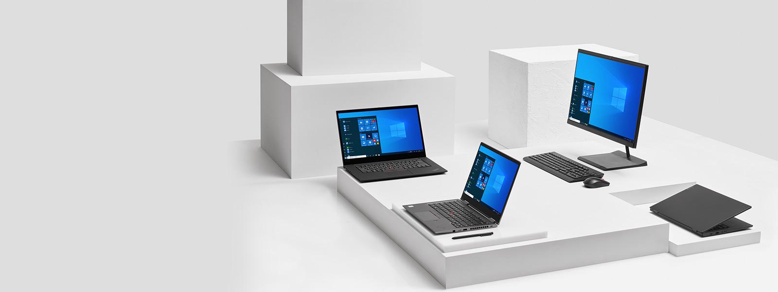 Família de dispositivos Lenovo com telas iniciais do Windows 10 Pro