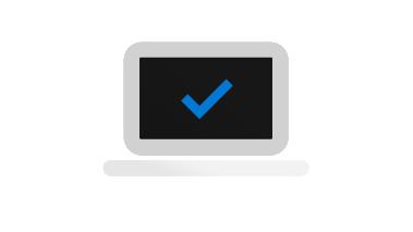 Ícone do computador com marca de seleção