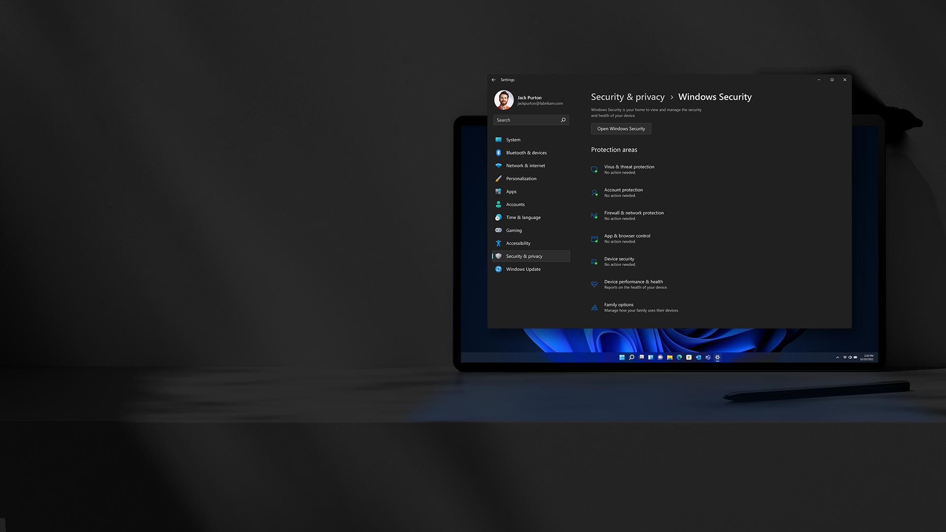 Tela de segurança do Windows 11 em um dispositivo Windows