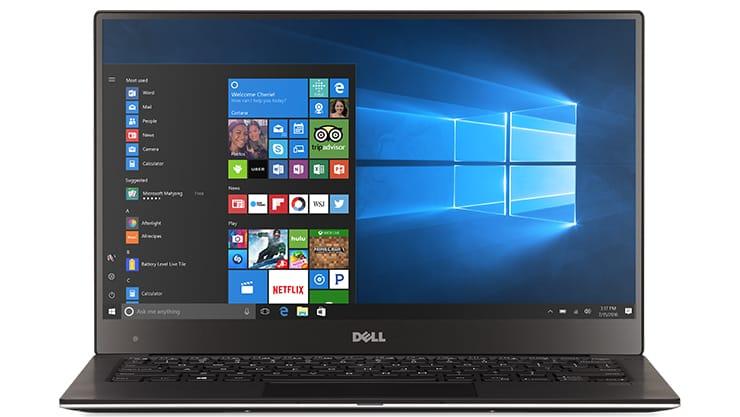 Tela inicial de notebook com Windows 10