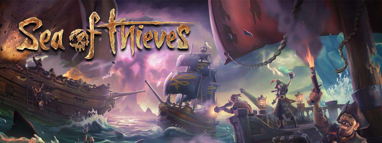 Sea of Thieves - Navios batalhando no oceano com um barco atacando outros navios