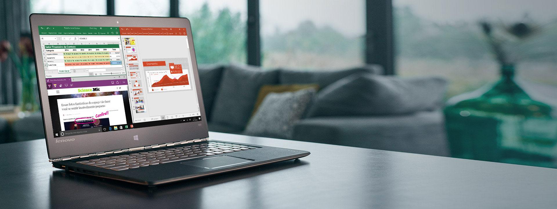 Lenovo Yoga 900 com a tela inicial do Windows 10