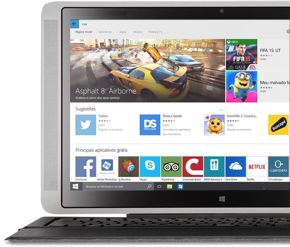 Laptop com a Windows Store na tela