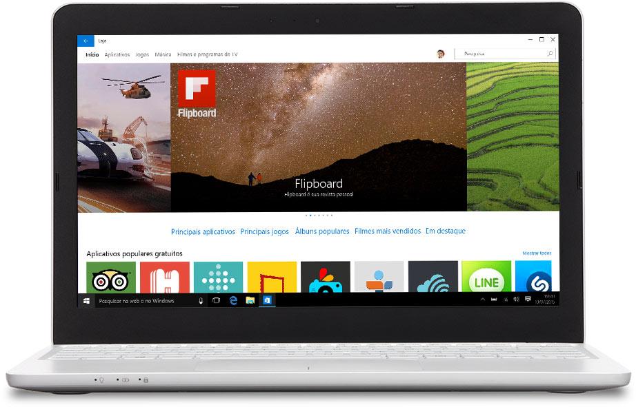 Notebook com a Loja Windows na tela