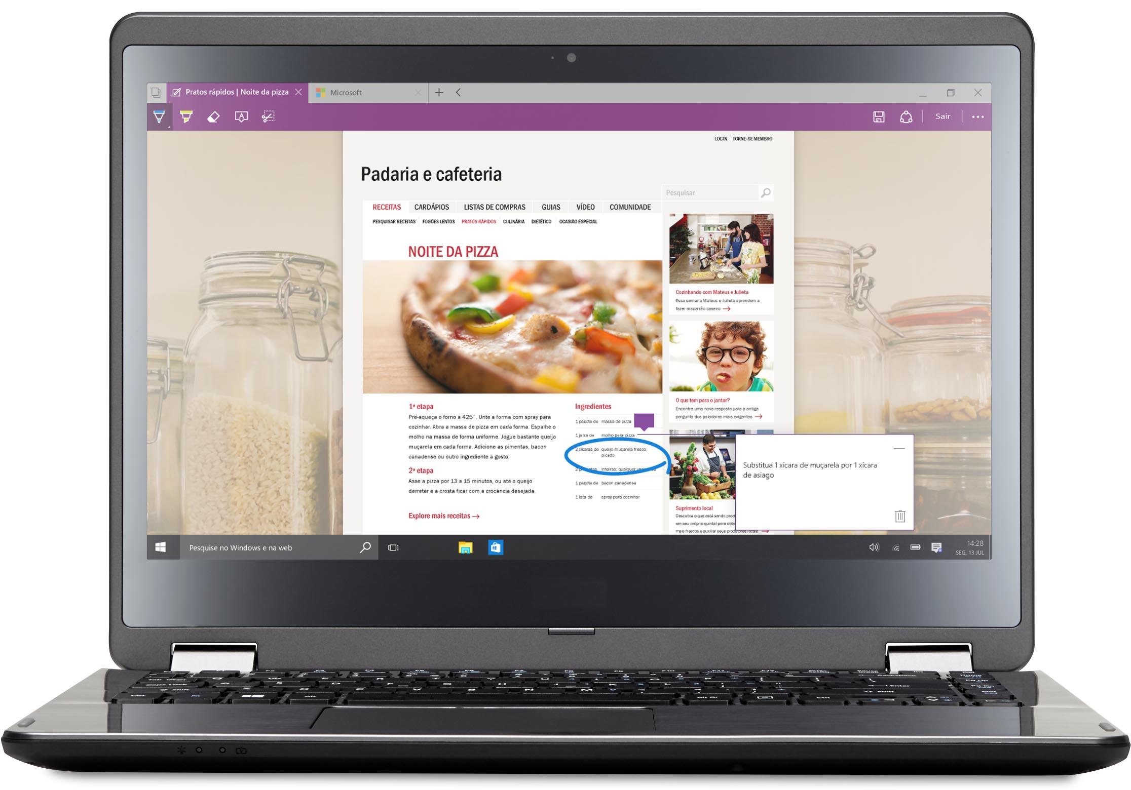 Laptop com o Microsoft Edge