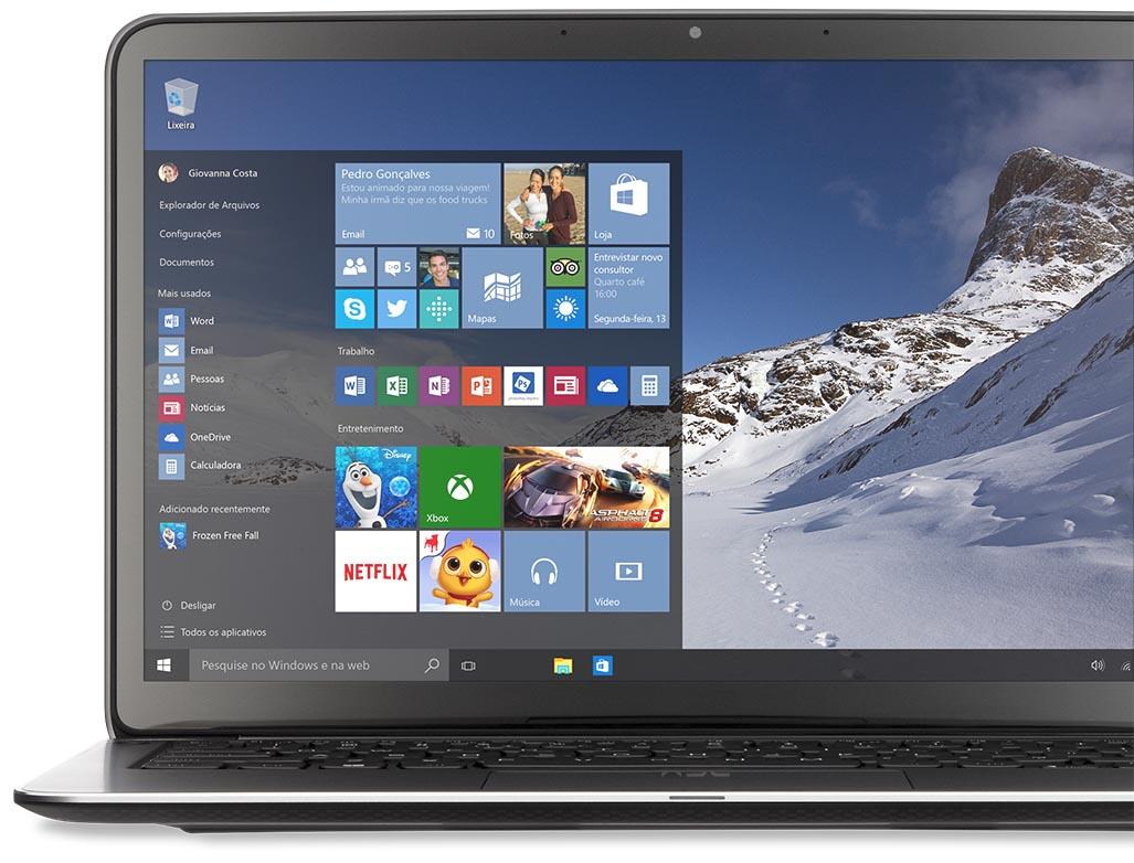 Laptop com o Menu Iniciar no Windows 10