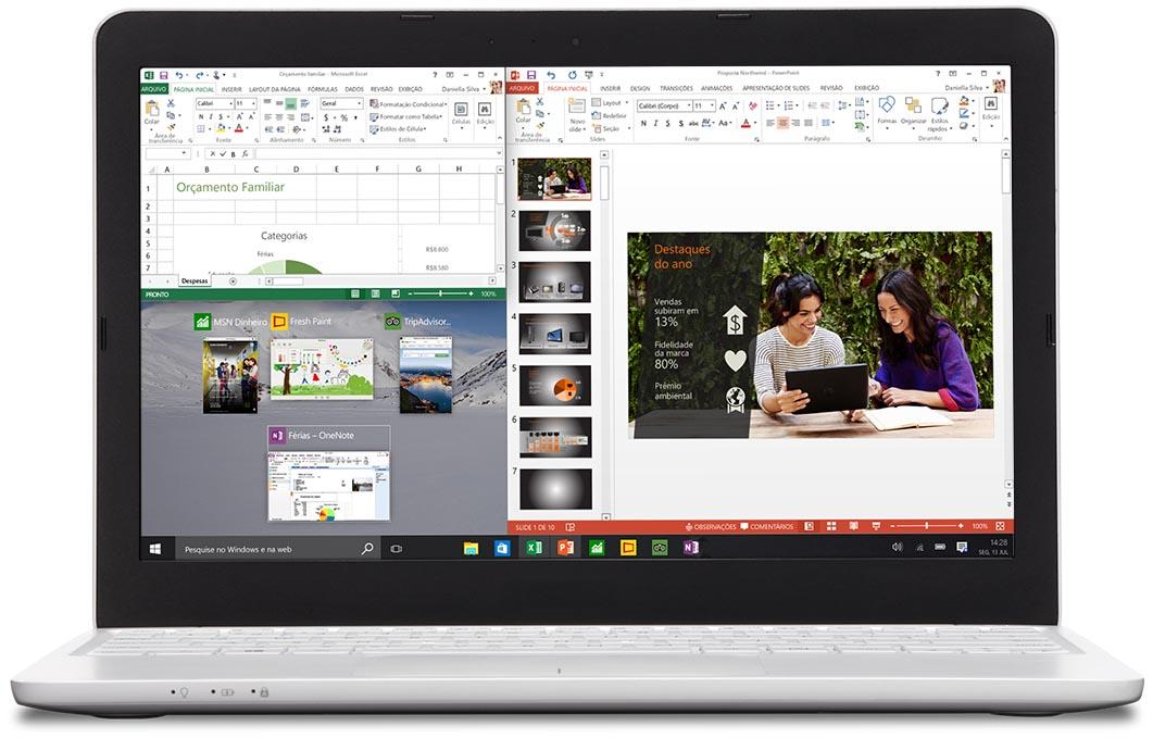 Laptop com dois aplicativos ajustados
