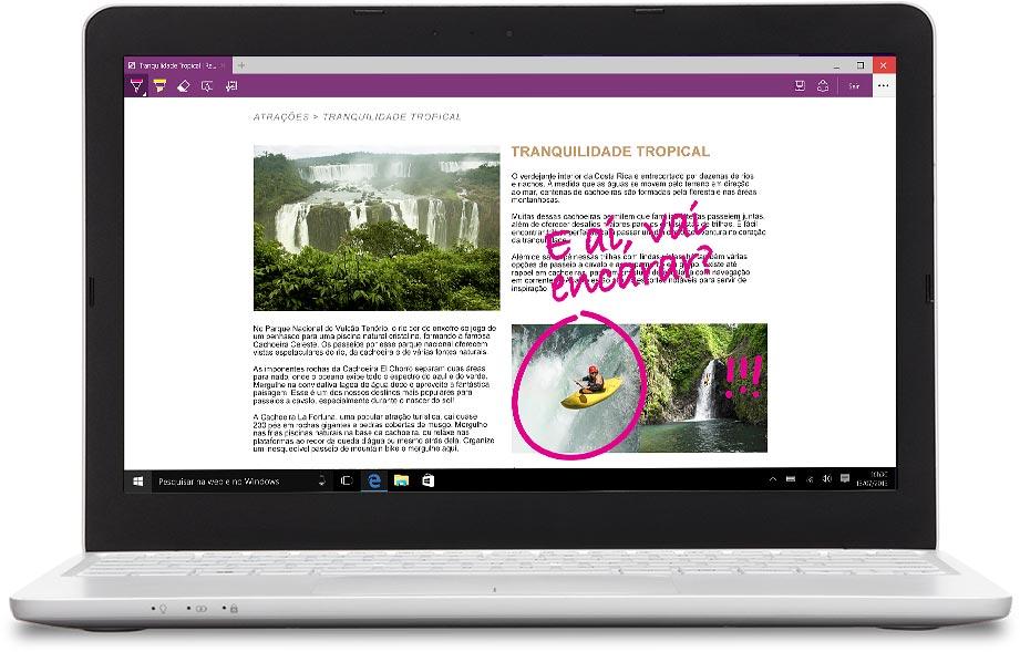 Notebook com o Microsoft Edge