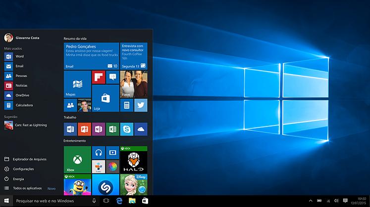 Notebook com o menu Iniciar do Windows 10