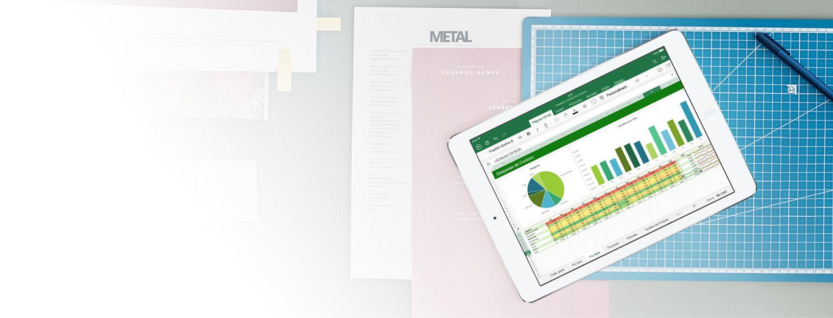 iPad exibindo uma planilha e um gráfico do Excel no aplicativo Excel para iOS