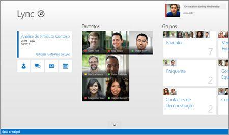 Uma captura de ecrã do ecrã principal do Lync com miniaturas dos contactos e opções de ligação.
