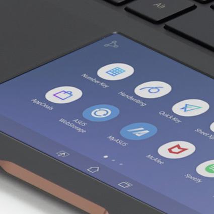 Ecrã tátil de um computador com ícones