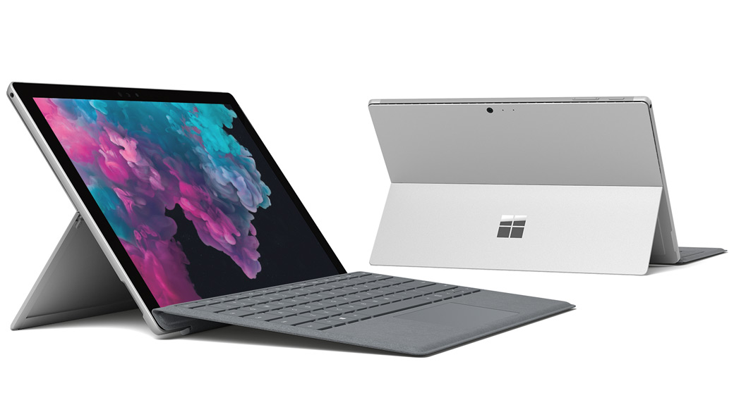 Um Surface Pro 6 a apresentar o ambiente de trabalho do Windows 10