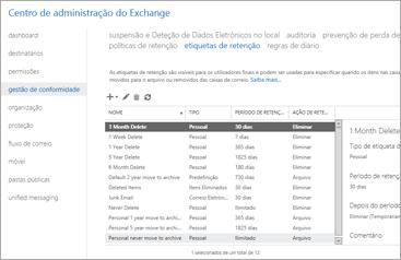 Um grande plano da página de gestão da conformidade no centro de administração do Exchange.